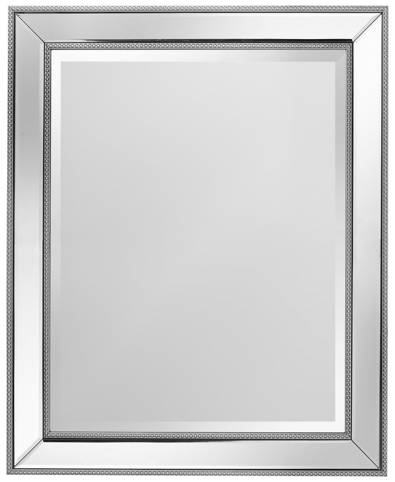 "Vedette Silver Beaded Wall Mirror (26"" x 32"")"