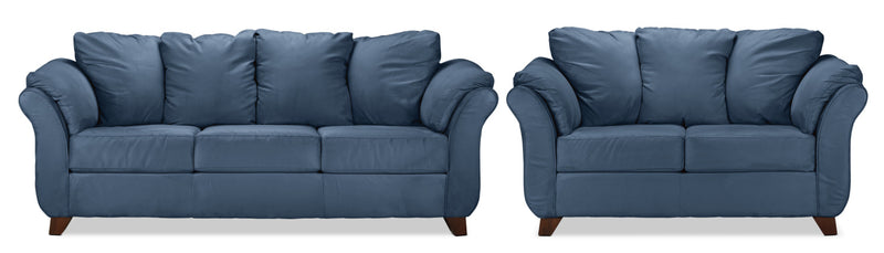 Collier Sofa and Loveseat Set - Cobalt Blue