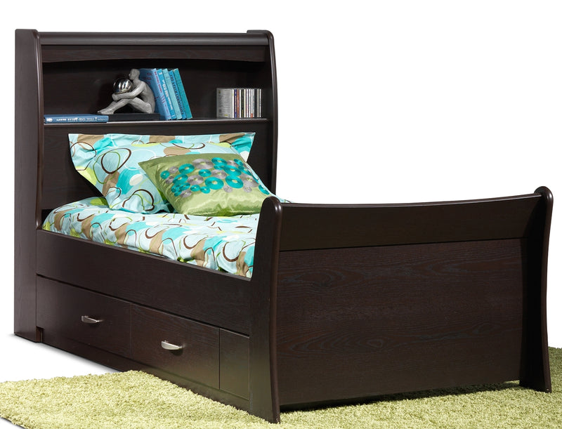Rachel Twin Storage Bed - Chocolate