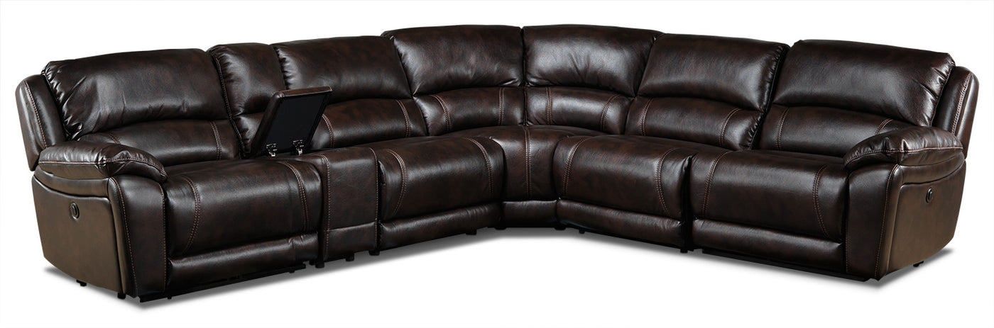 Santorini 6 Piece Power Reclining Sectional Walnut Leon S