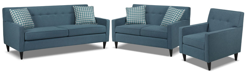 Passerina Sofa, Loveseat and Chair Set - Blue
