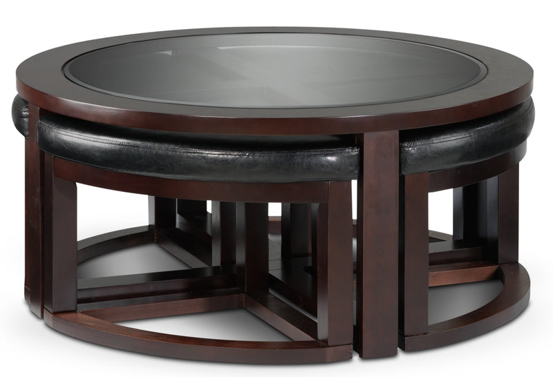 Emma Coffee Table w/ Four Ottomans - Espresso