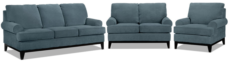 Crizia Sofa, Loveseat and Chair Set - Navy