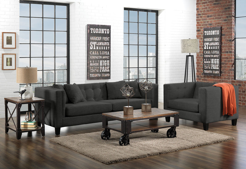 Astin Sofa and Chair and a Half Set - Dark Grey