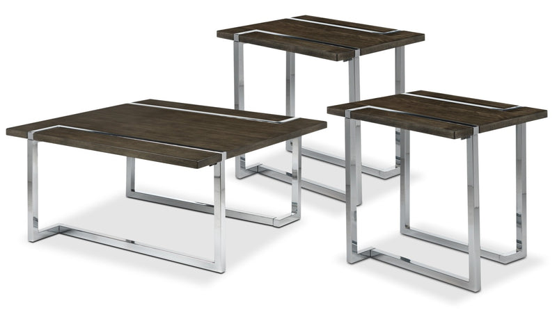 Kieran Coffee Table and Two End Table - Charcoal and Chrome