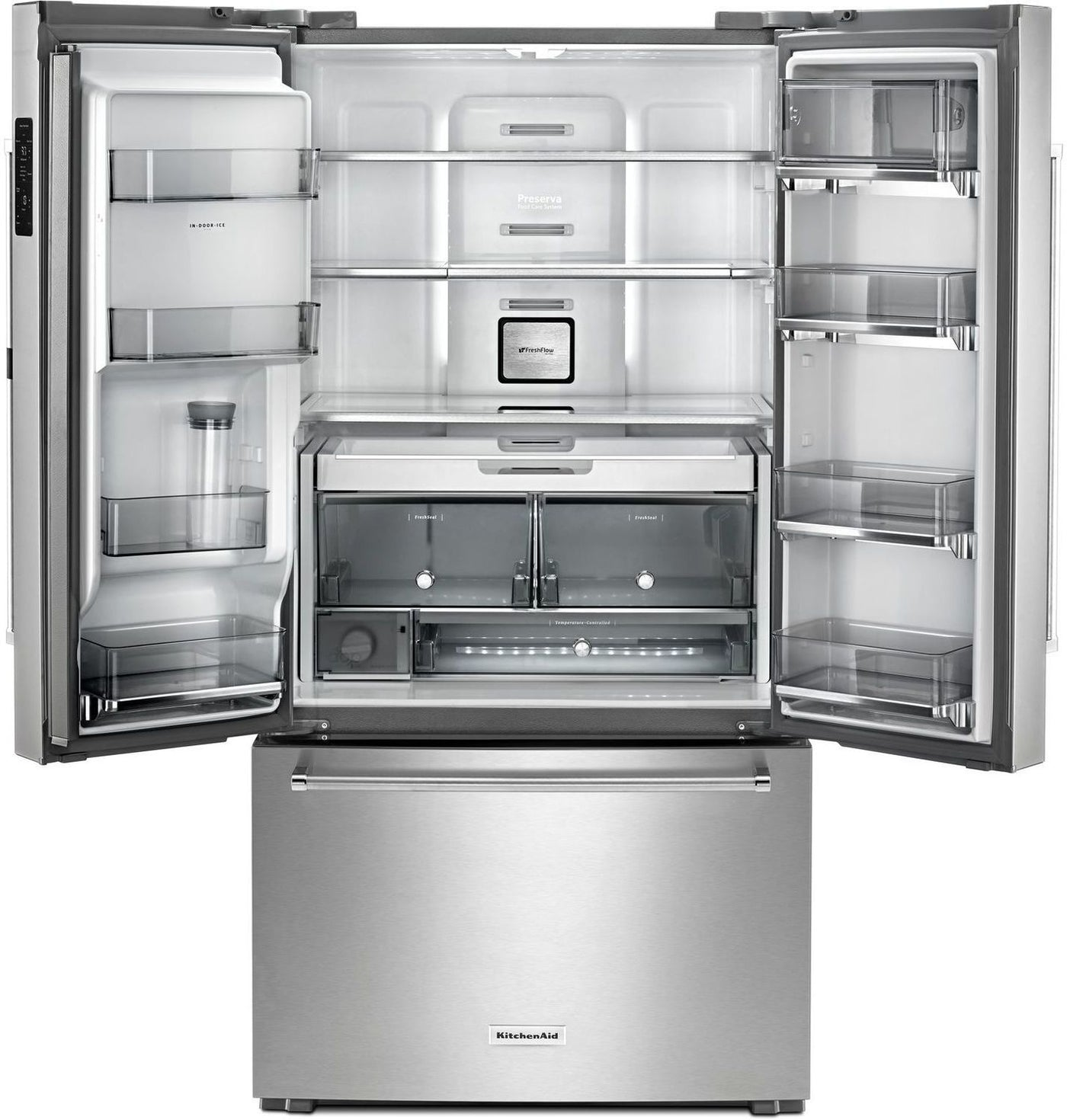 Admirable Kitchenaid Stainless Steel Counter Depth French Door Refrigerator 23 8 Cu Ft Krfc604Fss Beutiful Home Inspiration Ommitmahrainfo
