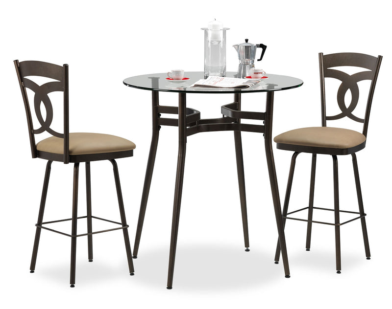 Anais 3-Piece Pub-Height Dinette Set - Beige and Brown