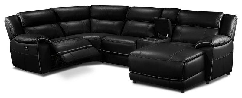 Holton 5 Piece Sectional With Right Facing Chaise Black
