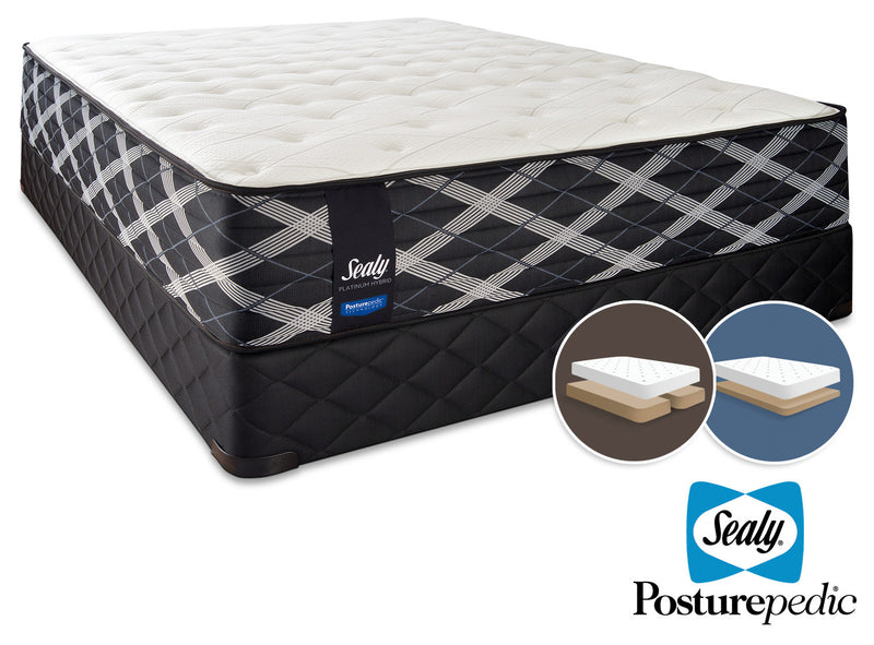 Sealy Thoughtful Hybrid Firm King Mattress and Split Low-Profile Boxspring Set