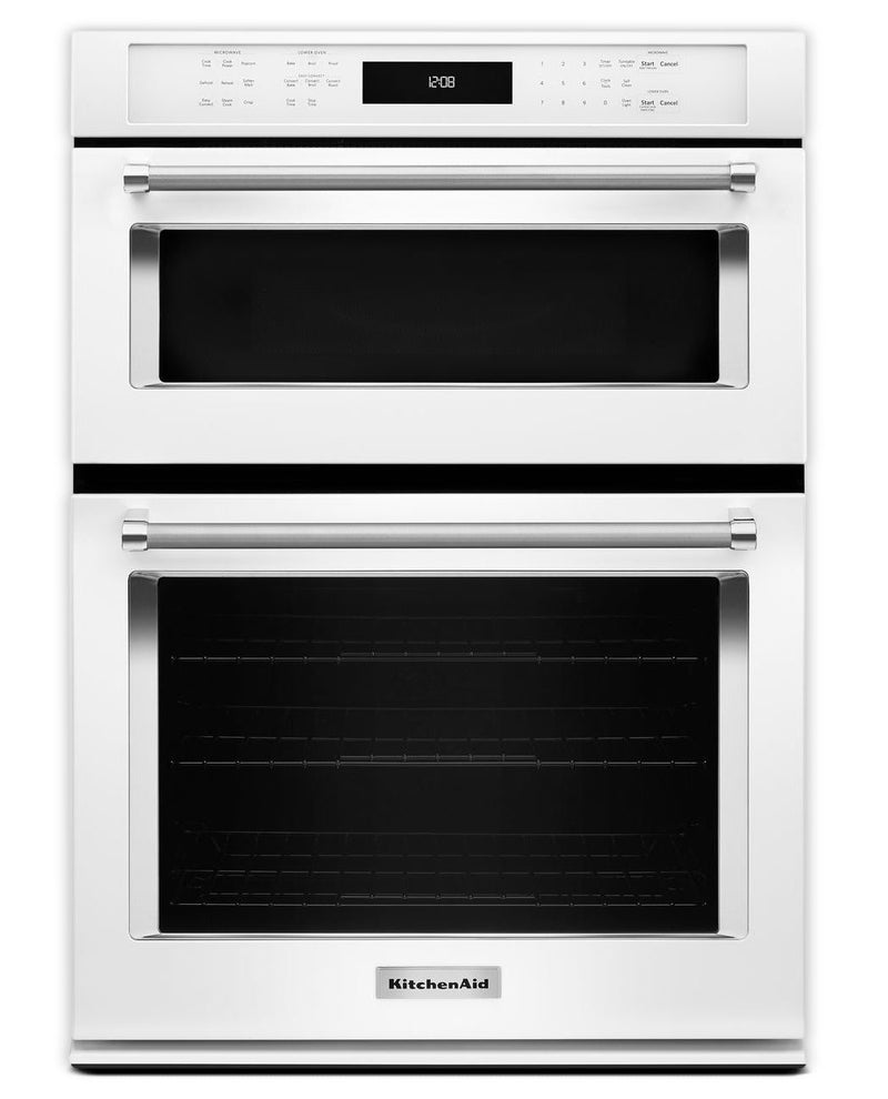 KitchenAid White Wall Oven (5 Cu. Ft.) w/ Microwave (1.4 Cu. Ft.) - KOCE500EWH