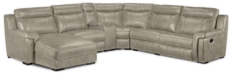 Bolero 6-Piece Reclining Sectional with Left-Facing Chaise - Pewter