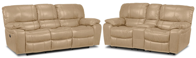 Santorini Power Reclining Sofa and Reclining Loveseat with Console Set - Taupe
