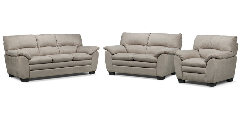 Kelleher Sofa, Loveseat and Chair Set - Silver Grey