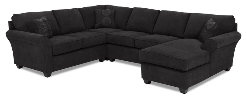 Althea 4-Piece Sectional with Right-Facing Chaise - Black