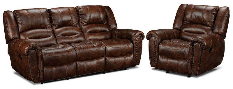 Whitaker Reclining Sofa and  Glider Recliner Set - Brown