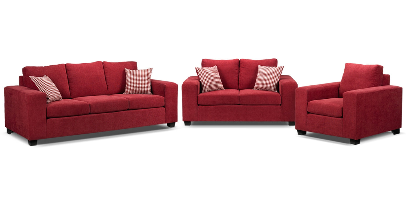 Fava 3 Pc Living Room Package Red Leon S