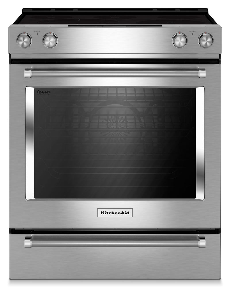 KitchenAid Stainless Steel Slide-In Electric Convection Range (6.4 Cu. Ft.) - YKSEG700ESS