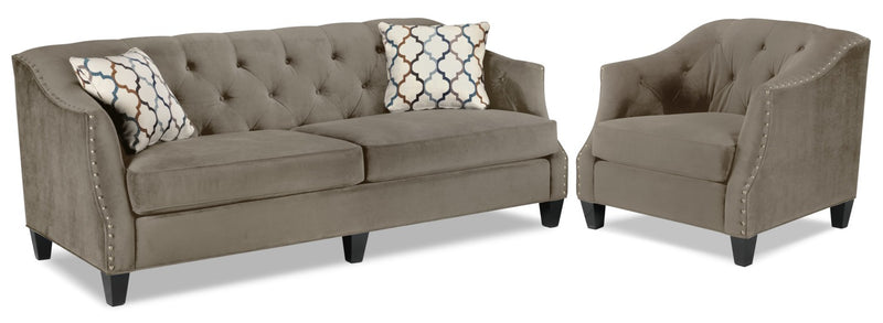 Endicott Sofa and Chair Set - Charcoal