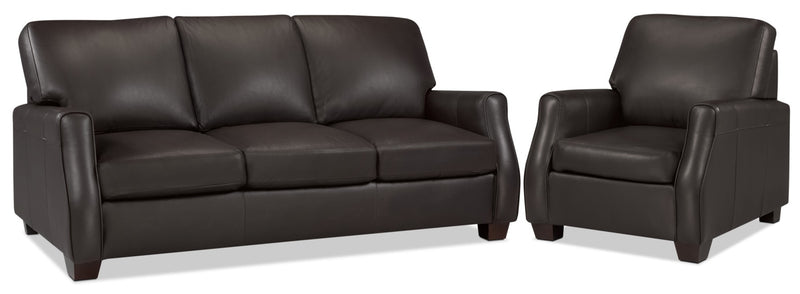 Talbot Sofa and Chair Set - Chocolate