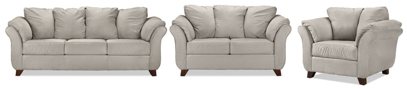 Collier Sofa, Loveseat and Chair Set - Light Grey