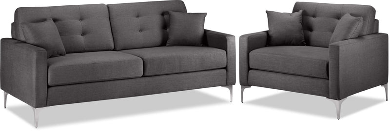 Ainsley Sofa and Chair and a Half Set - Grey
