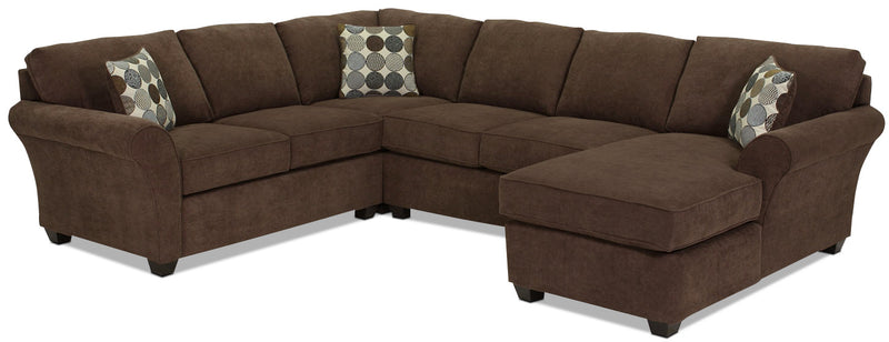 Althea 4-Piece Sectional with Right-Facing Chaise - Coffee