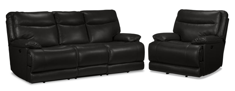 Lanette Power Reclining Sofa and Reclining Chair Set - Black