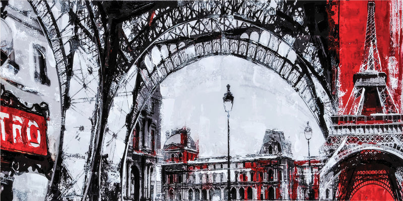 "Urban Paris Framed Painting (60"" X 30"")"