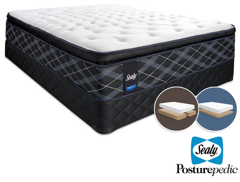 Sealy 6K Cushion Firm King Mattress and Split Low-Profile Boxspring Set