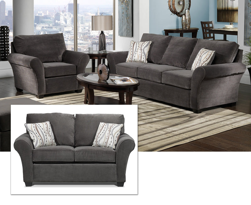 Langley Sofa, Loveseat and Chair Set - Charcoal