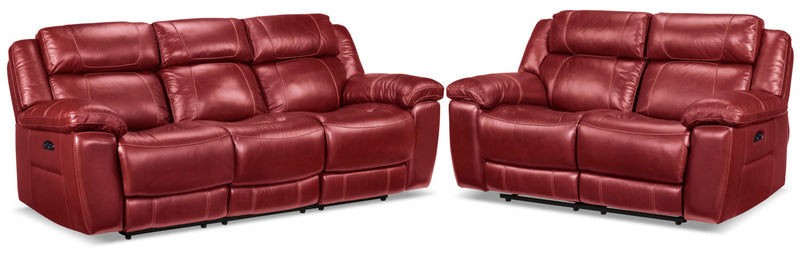 Solenn Power Reclining Sofa and Reclining Loveseat - Rouge