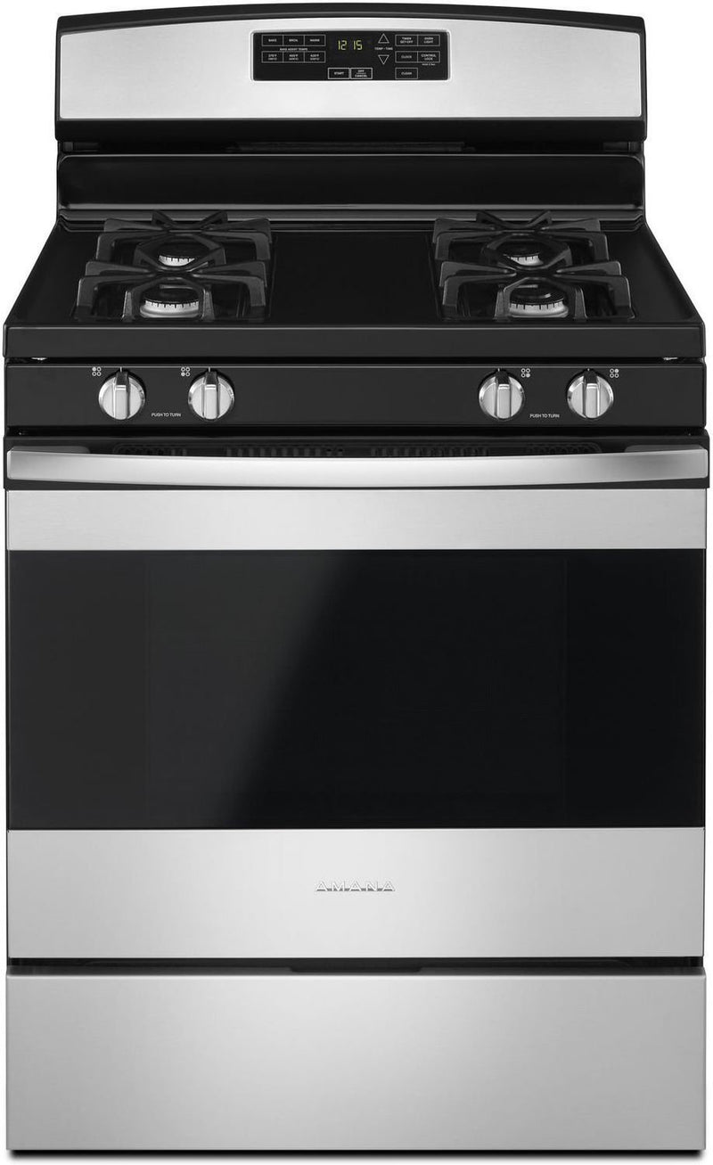 Amana Black-on-Stainless Steel Freestanding Gas Range (5.0 Cu. Ft.) - AGR6603SFS