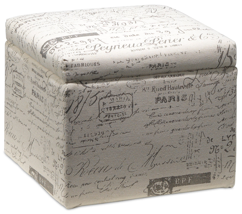 Boardwalk Small Storage Ottoman - Scroll White