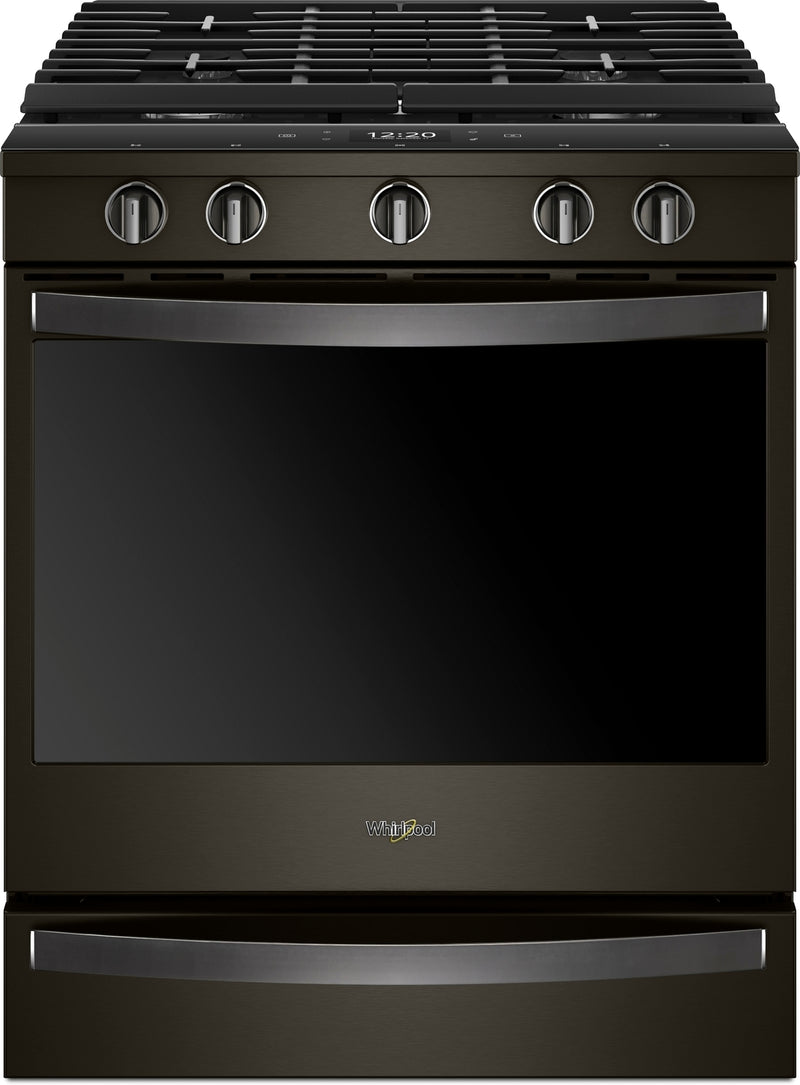 Whirlpool Black Stainless Steel Slide-In Gas True Convection Range (5.8 Cu. Ft.) - WEG750H0HV