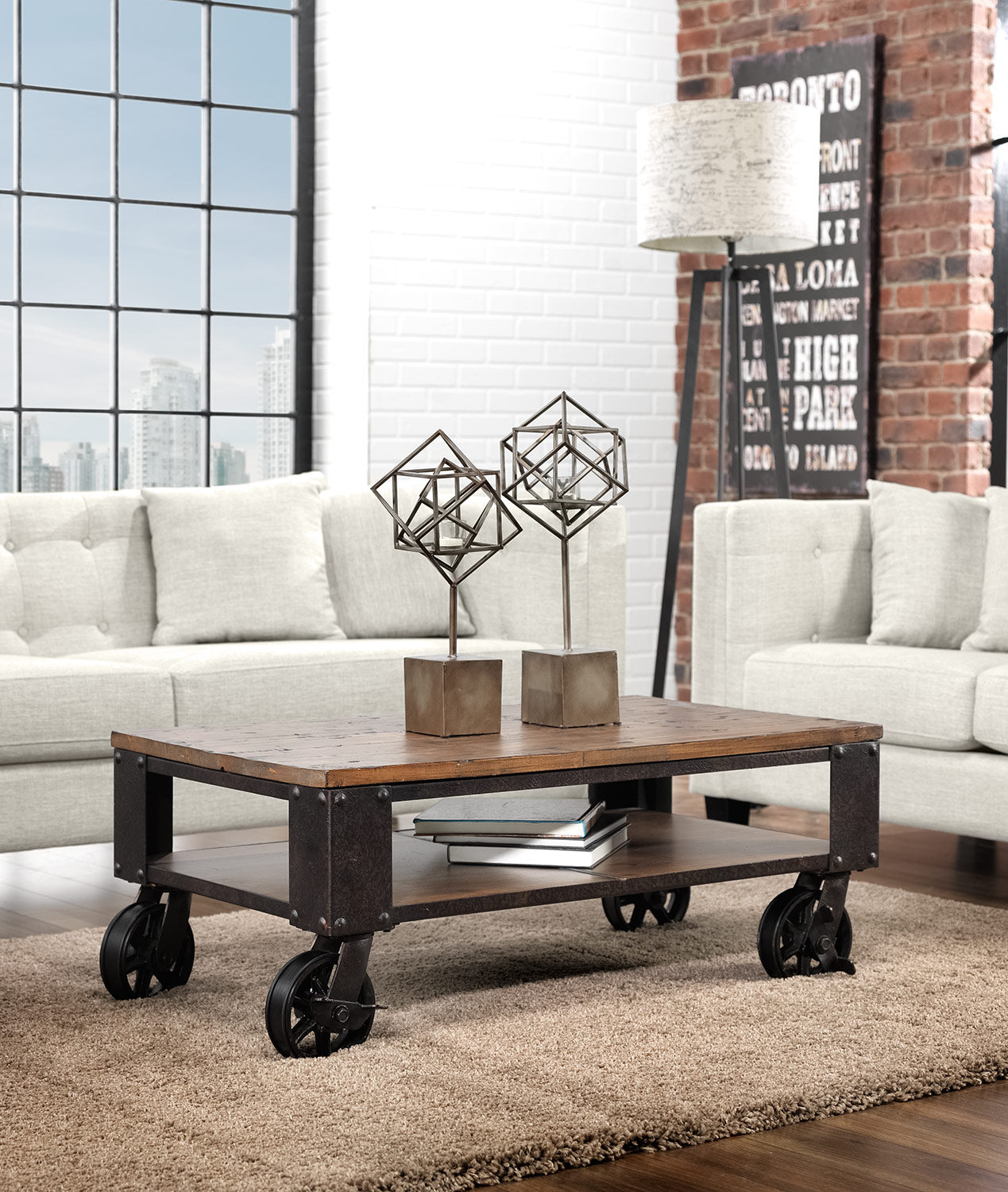 2542610fed47 Pinebrook Condo Coffee Table - Distressed Natural Pine. Touch to zoom