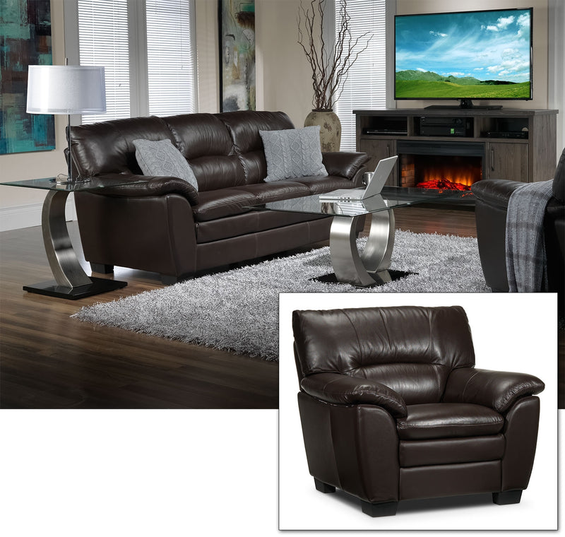 Rodero Sofa and Chair Set - Brown