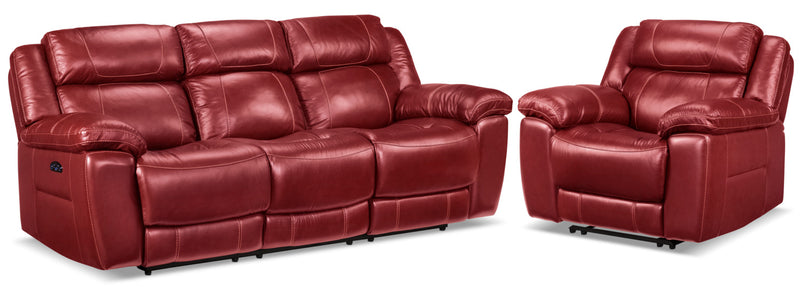 Solenn Power Reclining Sofa and Recliner - Rouge