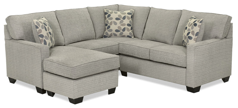 Trinity 3-Piece Sectional with Ottoman - Pewter