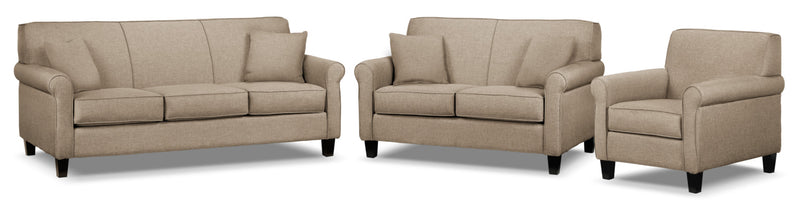 Ariel Sofa, Loveseat and Chair Set - Beige