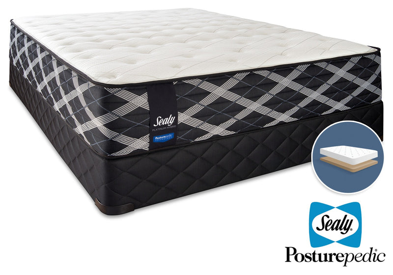 Sealy Thoughtful Hybrid Firm Full Mattress and Low-Profile Boxspring Set