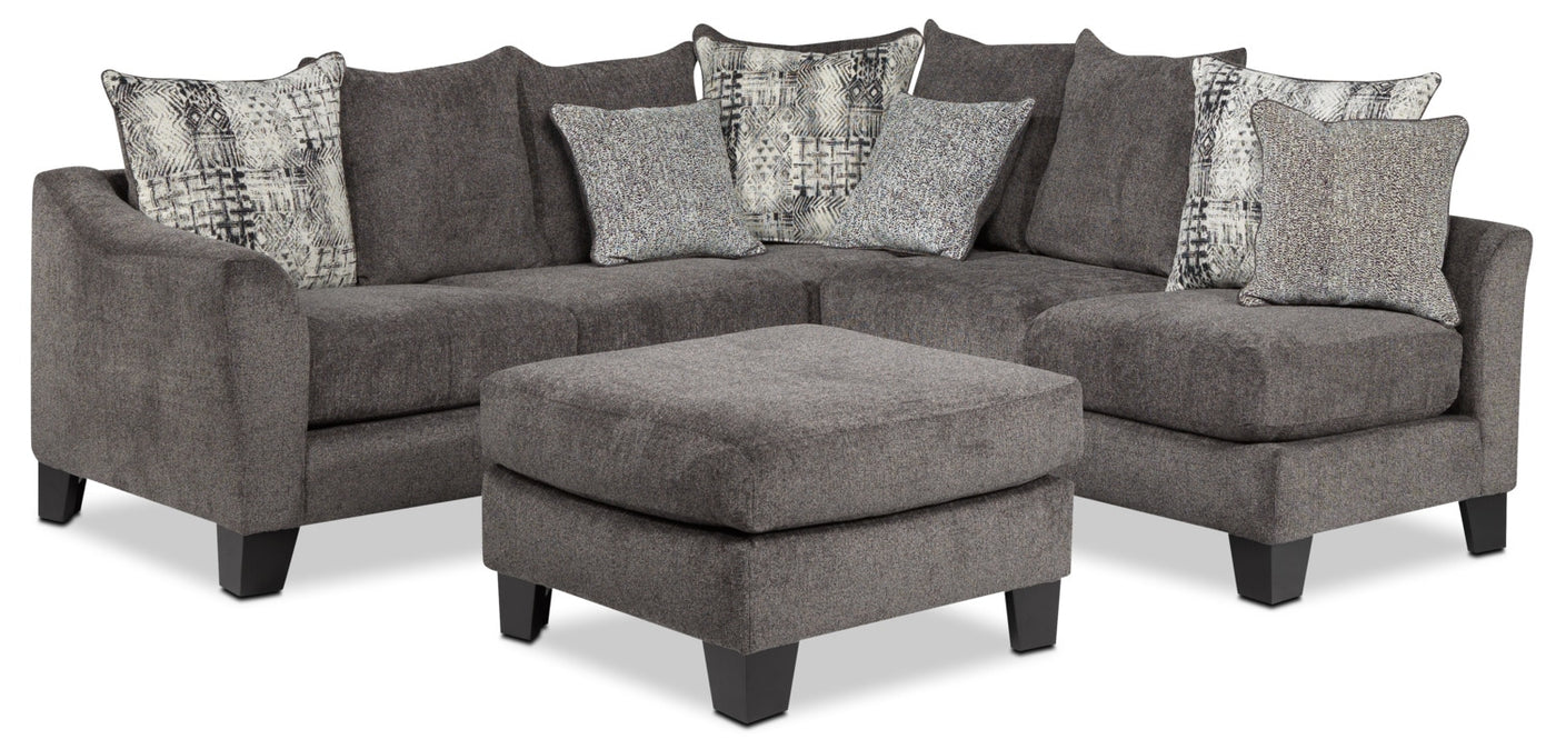 Tremont 3 Piece Sectional And Ottoman Set Slate Leons