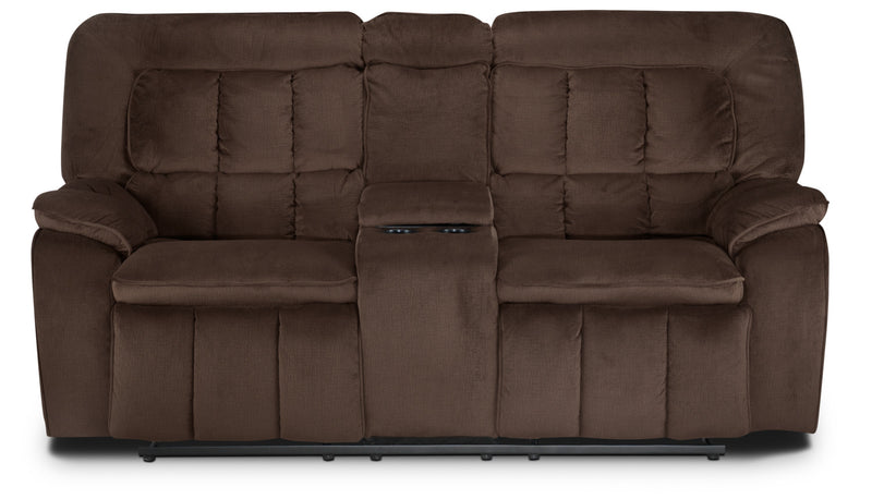 Wisconsin Reclining Loveseat with Console - Dark Brown