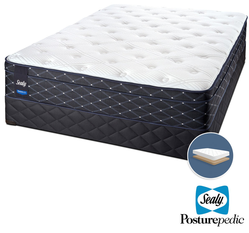 Sealy Familiar Plush Queen Mattress and Low-Profile Boxspring Set
