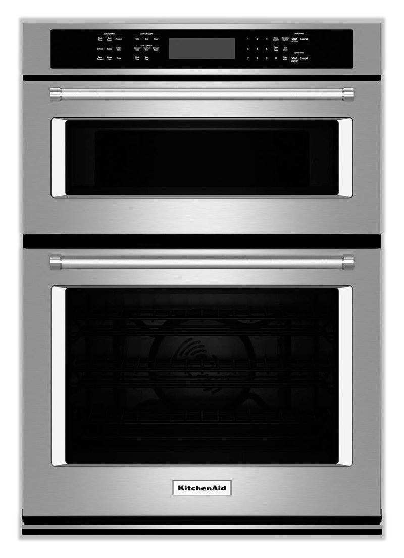KitchenAid Stainless Steel Wall Oven (4.3 Cu. Ft.) w/ Microwave (1.4 Cu. Ft.) - KOCE507ESS