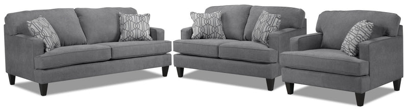 Bacchus Sofa, Loveseat and Chair and a Half Set - Slate