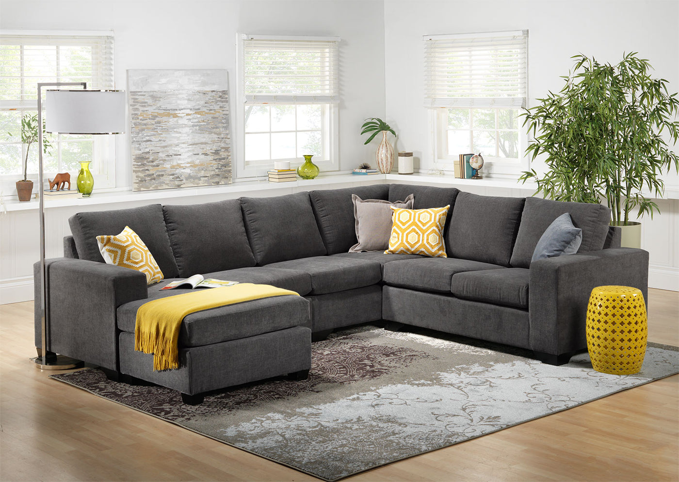 Fantastic Danielle 3 Piece Sectional With Left Facing Corner Wedge Grey Andrewgaddart Wooden Chair Designs For Living Room Andrewgaddartcom