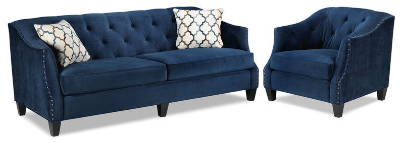 Endicott Sofa and Chair Set - Indigo Blue