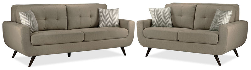 Julian Sofa and Loveseat Set - Grey