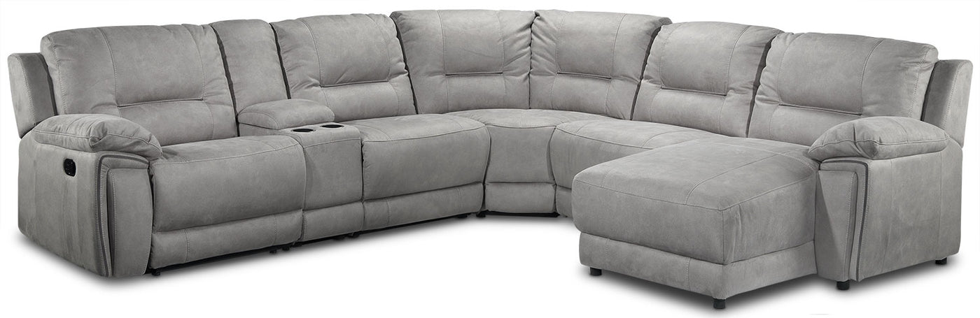 innovative design a69aa d659c Pasadena 6-Piece Reclining Sectional with Right-Facing Chaise - Light Grey