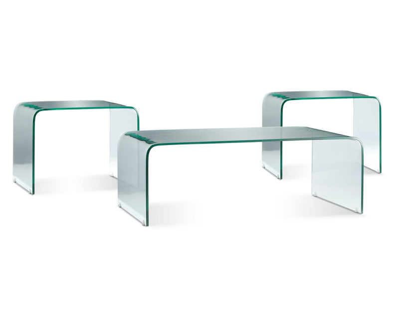 Flow Coffee Table and Two End Tables - Glass